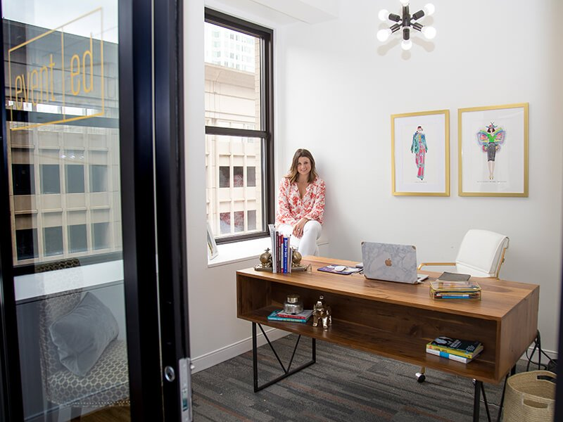 Evented founder, Emily Daniels in her office at The Mill coworking space