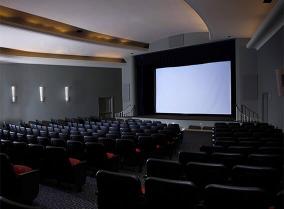 The Mill Auditorium is a fully functional theater with state-of-the-art projection and sound system that can seat 225 and hold up to 300 people.